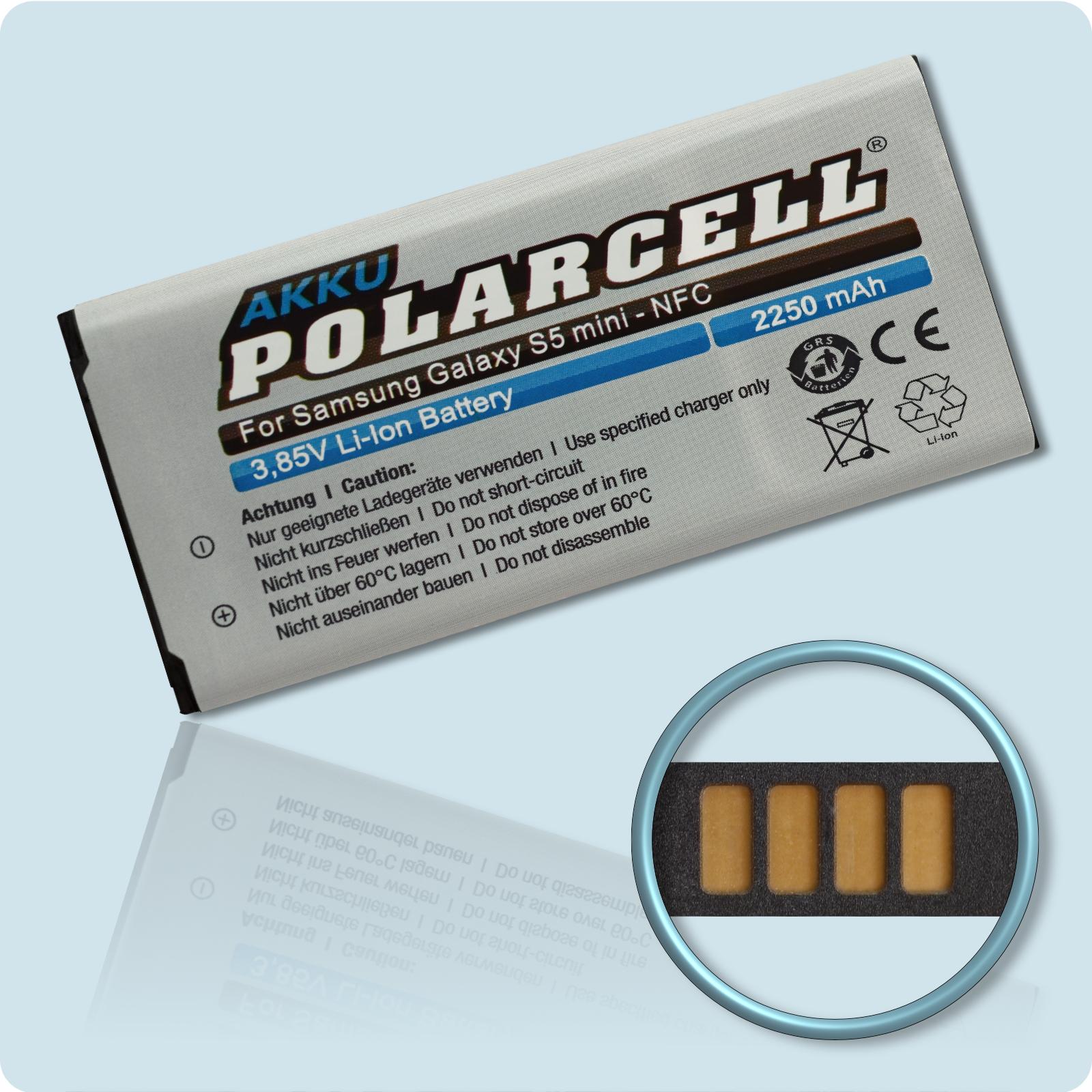 PolarCell® Hochleistungsakku für Samsung Galaxy S5 mini DuoS SM-G800H mit NFC-Antenne, ersetzt Originalakku EB-BG800BBC
