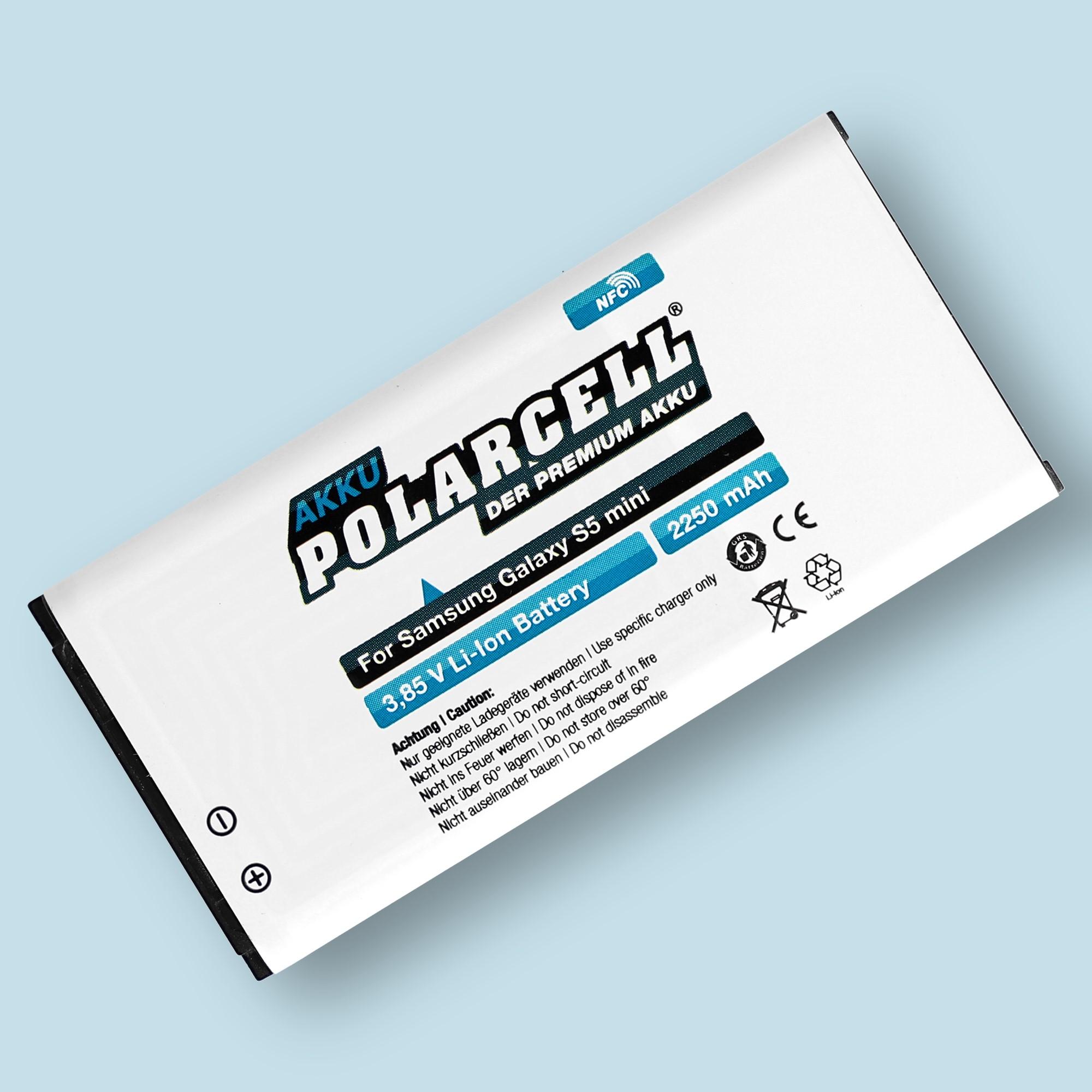 PolarCell® Hochleistungsakku für Samsung Galaxy S5 mini SM-G800F mit NFC-Antenne, ersetzt Originalakku EB-BG800BBE