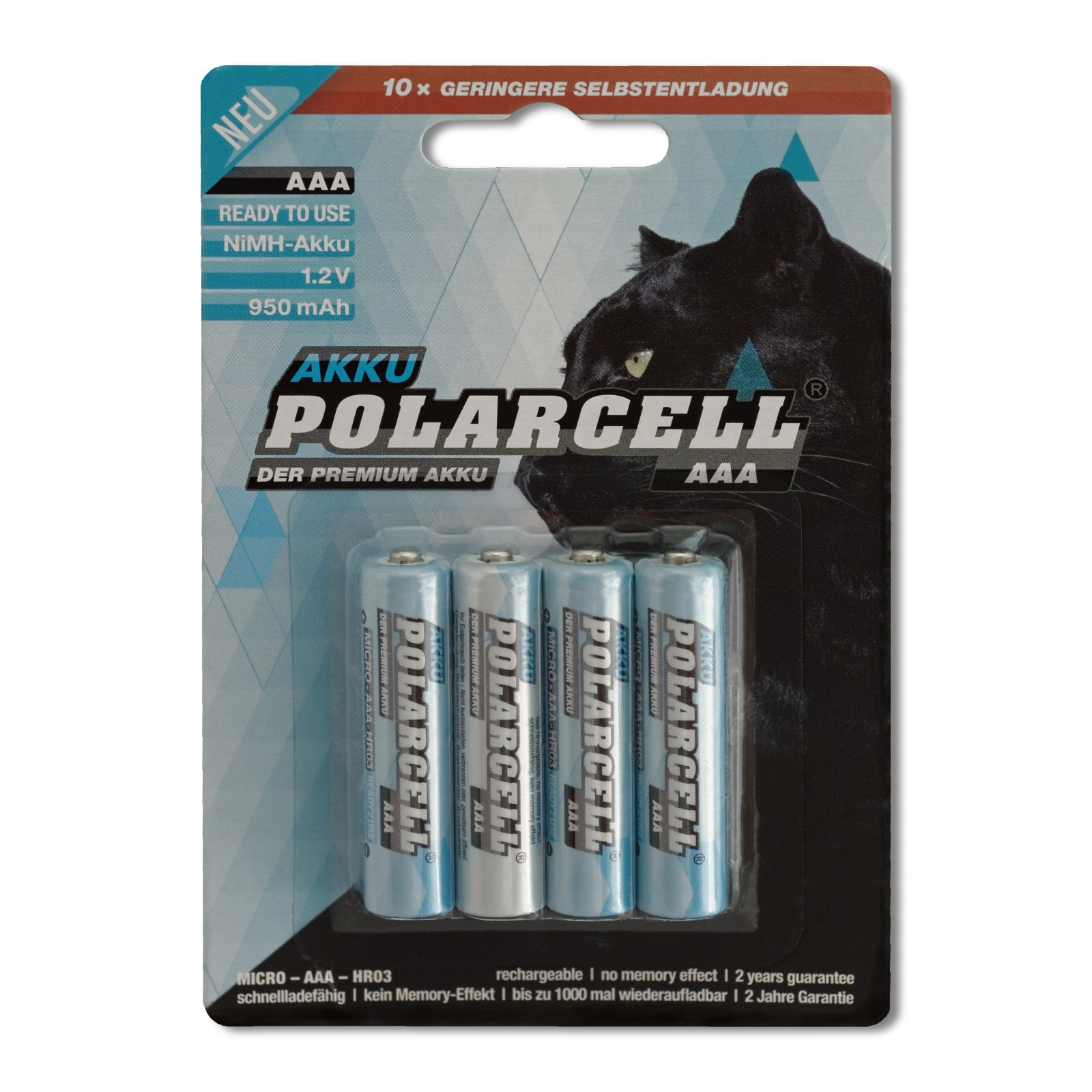 PolarCell Ready to Use Micro AAA Premium Ni-MH Akku [4er-Blister]
