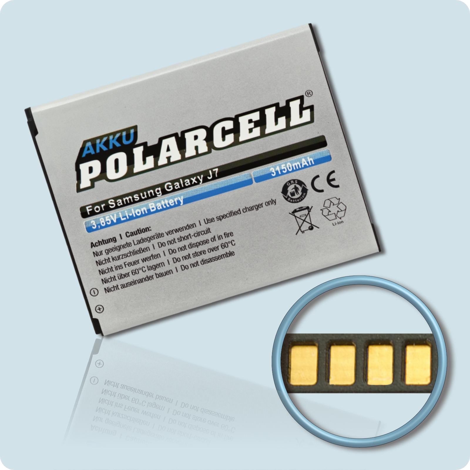 PolarCell® Hochleistungsakku für Samsung Galaxy J7 SM-J700F, ersetzt Originalakku EB-BJ700BBE