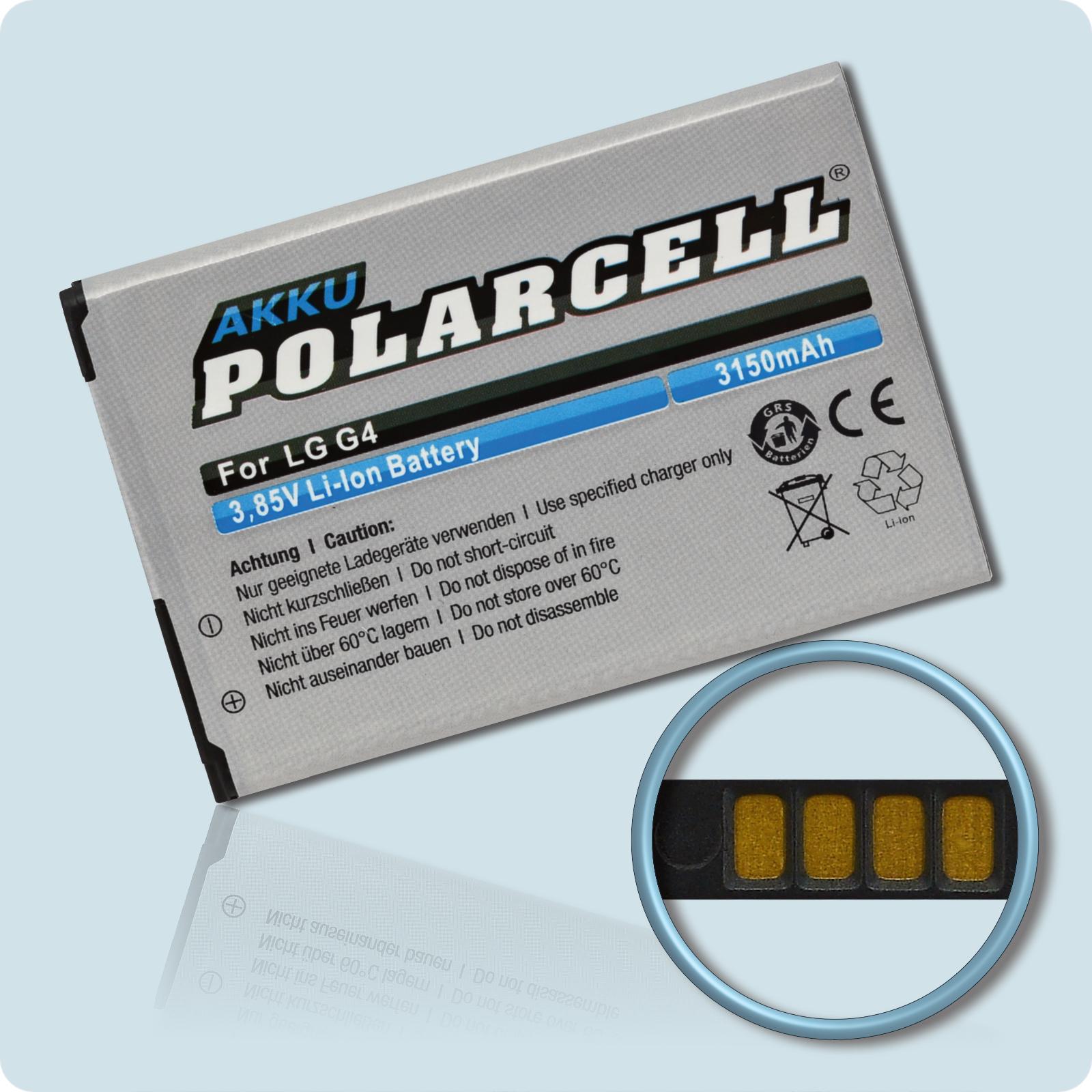 PolarCell® Hochleistungsakku für LG G4 H815, ersetzt Originalakku BL-51YF