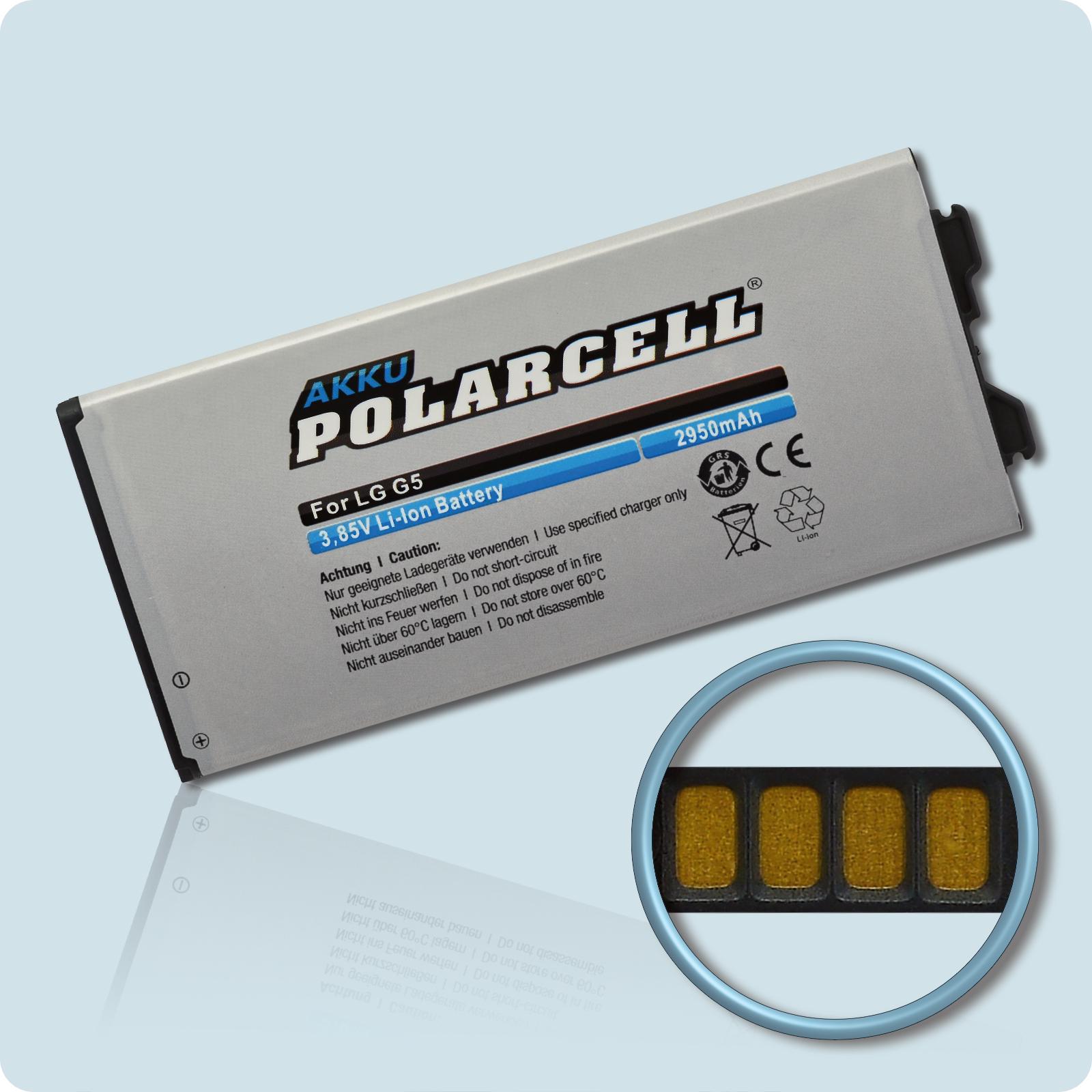 PolarCell® Hochleistungsakku für LG G5 Dual Sim H860N, ersetzt Originalakku BL-42D1F