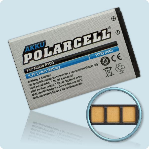 PolarCell® Hochleistungsakku für Nokia 6100, ersetzt Originalakku  BL-4C