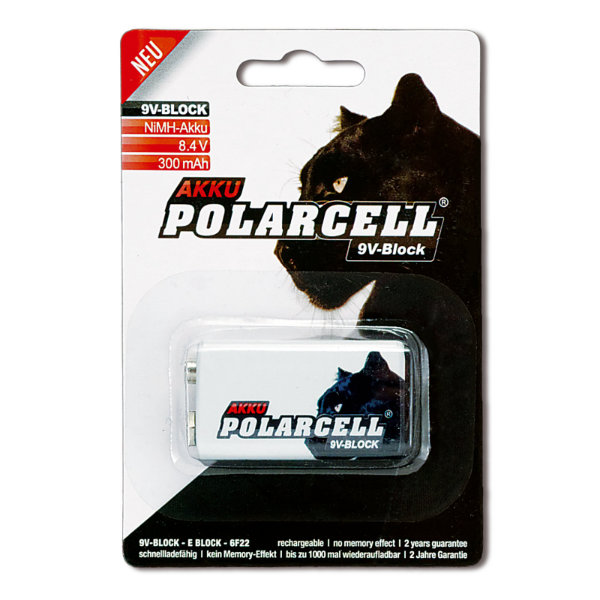 PolarCell 9V-Block Premium Ni-MH Akku [1er-Blister]