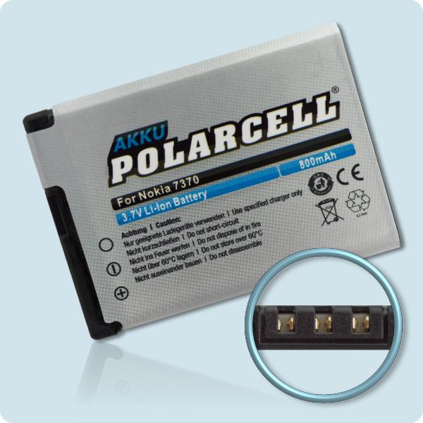 PolarCell® Hochleistungsakku für Nokia 7370, ersetzt Originalakku BL-4B