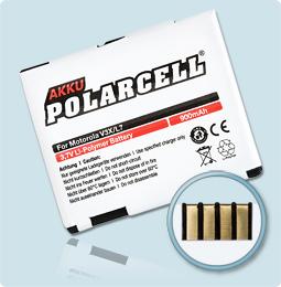 PolarCell® Hochleistungsakku für Motorola Aura, ersetzt Originalakku BC60 - BK60