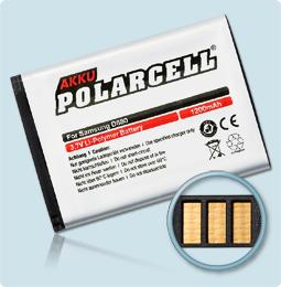PolarCell® Hochleistungsakku für Samsung SGH-D880, ersetzt Originalakku AB553850DE