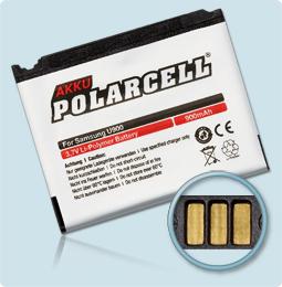PolarCell® Hochleistungsakku für Samsung L810, ersetzt Originalakku AB653039CE - CU