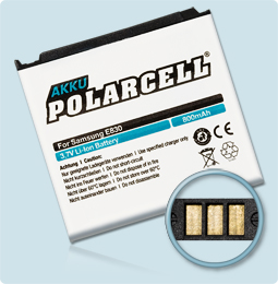 PolarCell Hochleistungs-Akku ersetzt Originalakku Samsung AB483640AE