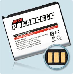 PolarCell® Hochleistungsakku für Samsung i7500, ersetzt Originalakku  AB653850CU - CE
