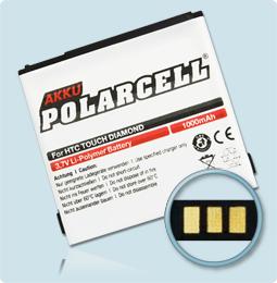 PolarCell® Hochleistungsakku für HTC P3700 ersetzt Originalakku DIAM160