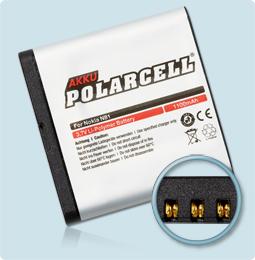 PolarCell® Hochleistungsakku für Nokia E51, ersetzt Originalakku BP-6MT