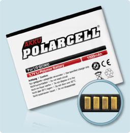 PolarCell® Hochleistungsakku für LG Puccini GT500, ersetzt Originalakku LGIP-580N