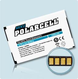 PolarCell® Hochleistungsakku für HTC Touch Diamond 2, ersetzt Originalakku TOPA160