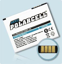 PolarCell® Hochleistungsakku für Motorola Razr2 V8, ersetzt Originalakku BX40