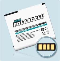 PolarCell® Hochleistungsakku für HTC Desire, ersetzt Originalakku BA S410