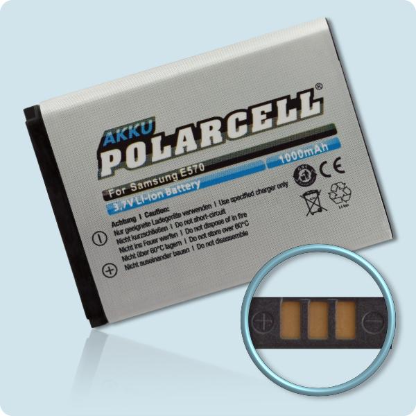 PolarCell® Hochleistungsakku für Samsung SGH-E570, ersetzt Originalakku AB503442BE