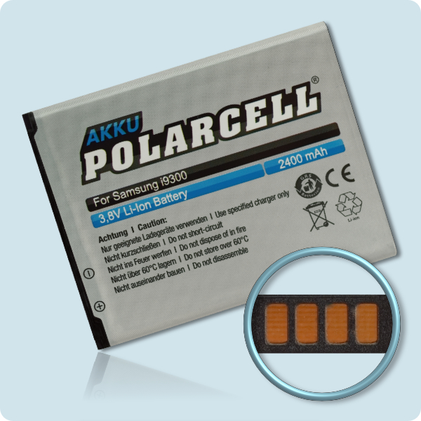 PolarCell® Hochleistungsakku für Samsung Galaxy S3 GT-i9300 mit NFC-Antenne, ersetzt Originalakku EB-L1G6LLU