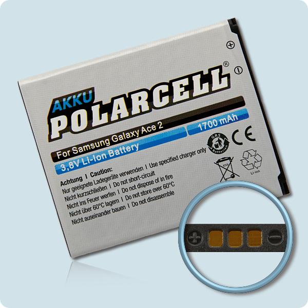 PolarCell® Hochleistungsakku für Samsung Galaxy Ace 2 GT-i8160, ersetzt Originalakku  EB425161LU