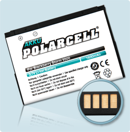 PolarCell® Hochleistungsakku für Blackberry Storm 9500, ersetzt Originalakku D-X1