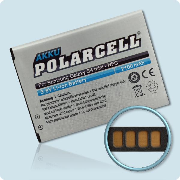 PolarCell® Hochleistungsakku für Samsung Galaxy S4 mini GT-i9195 LTE mit NFC-Antenne, ersetzt Originalakku  EB-B500BE -  BU