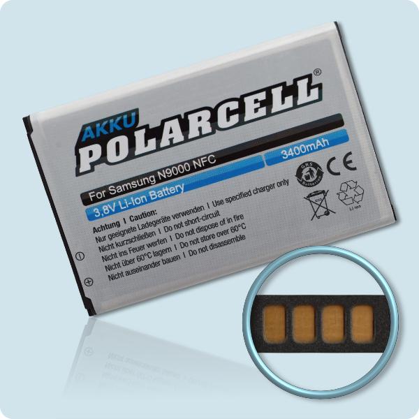 PolarCell® Hochleistungsakku für Samsung Galaxy Note 3 GT-N9000 inkl. NFC-Antenne, ersetzt Originalakku EB-B800BE