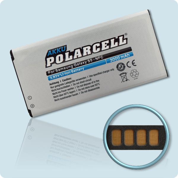 PolarCell® Hochleistungsakku für Samsung Galaxy S5 SM-G900F mit NFC-Antenne, ersetzt Originalakku EB-BG900BBC