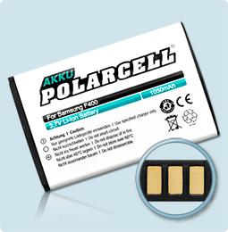 PolarCell® Hochleistungsakku für Samsung S3370, ersetzt Originalakku AB463651BE - BU