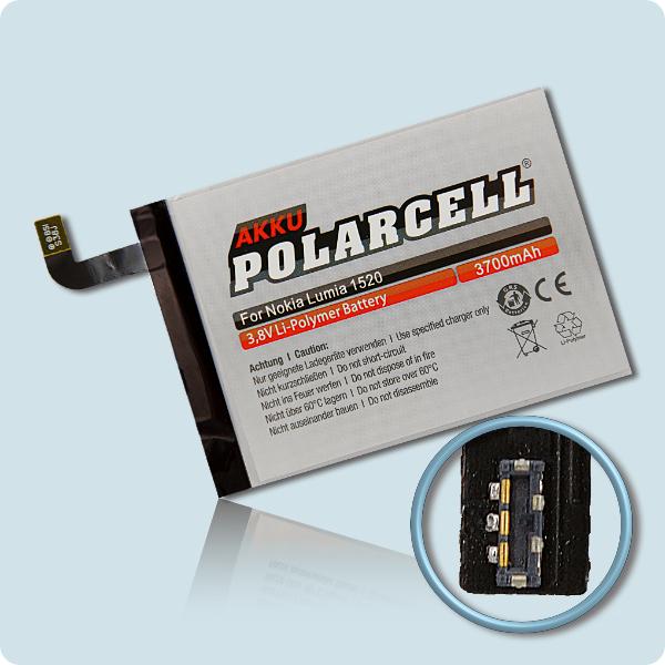 PolarCell® Hochleistungsakku für Nokia Lumia 1520, ersetzt Originalakku BV-4BW