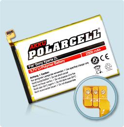 PolarCell® Hochleistungsakku für Sony Xperia ZL, ersetzt Originalakku LIS1501ERPC