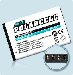 PolarCell® Hochleistungsakku für Motorola DEFY mini, ersetzt Originalakku HF5X