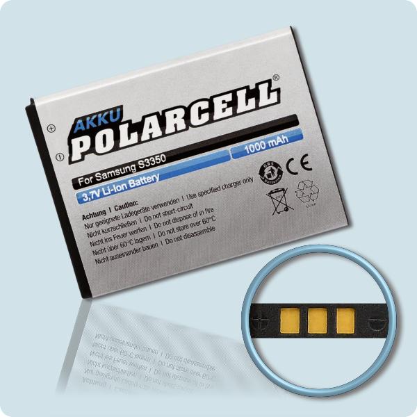 PolarCell® Hochleistungsakku für Samsung S3350, ersetzt Originalakku EB424255VU - VA