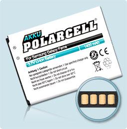 PolarCell® Hochleistungsakku für Samsung S6810, ersetzt Originalakku EB-L1P3DVU