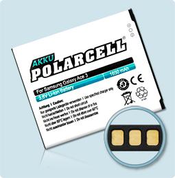 PolarCell® Hochleistungsakku für Samsung S7270, ersetzt Originalakku EB-B100AE