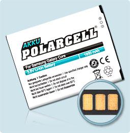 PolarCell® Hochleistungsakku für Samsung Galaxy Core GT-i8260, ersetzt Originalakku EB-B150AE