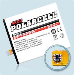 PolarCell® Hochleistungsakku für LG G2, ersetzt Originalakku BL-T7