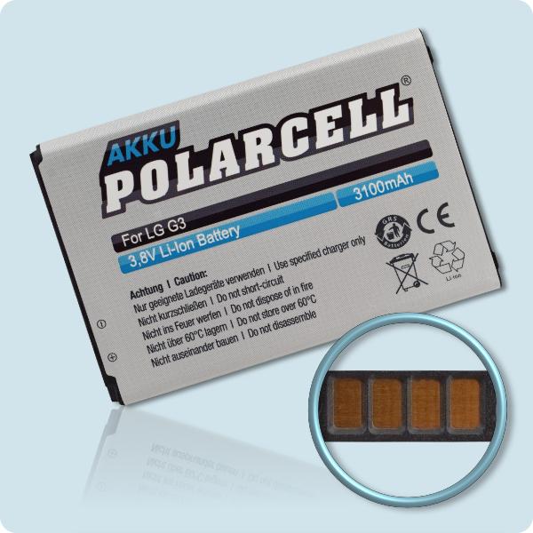 PolarCell® Hochleistungsakku für LG G3 D855, ersetzt Originalakku BL-53YH