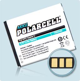 PolarCell® Hochleistungsakku für HTC Desire C, ersetzt Originalakku BA S850