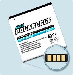 PolarCell® Hochleistungsakku für HTC Desire 300, ersetzt Originalakku BP6A100