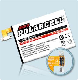 PolarCell® Hochleistungsakku für HTC One mini, ersetzt Originalakku BO58100