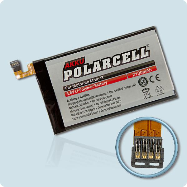 PolarCell® Hochleistungsakku für Motorola MOTO G 2nd, ersetzt Originalakku  ED30