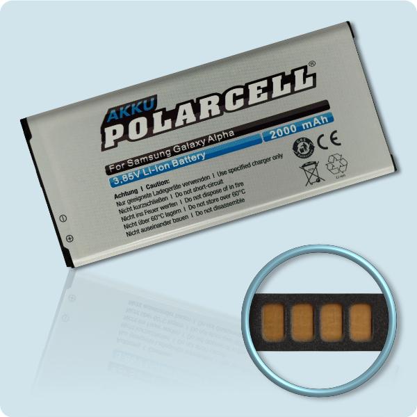 PolarCell® Hochleistungsakku für Samsung Galaxy Alpha SM-G850F, ersetzt Originalakku EB-BG850BBE