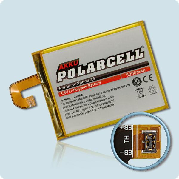 PolarCell® Hochleistungsakku für Xperia Z3, ersetzt Originalakku  LIS1558ERPC