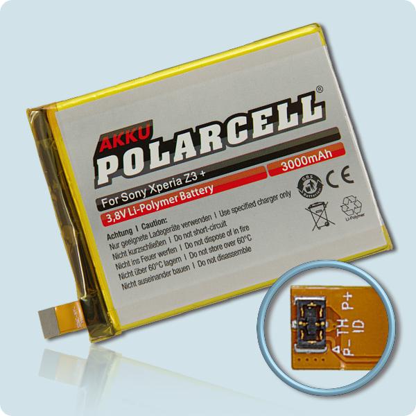 PolarCell® Hochleistungsakku für Sony Xperia Z3+, ersetzt Originalakku LIS1579ERPC