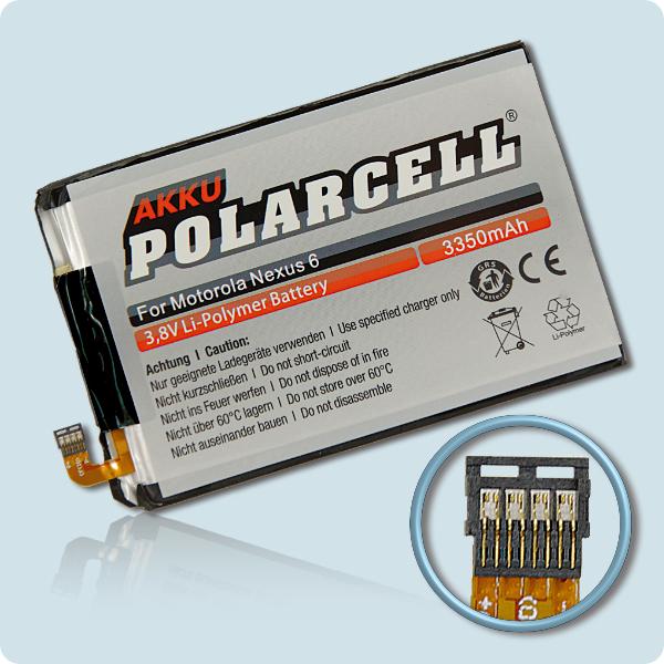 PolarCell® Hochleistungsakku für Motorola Nexus 6, ersetzt Originalakku EZ30 - SNN5953A