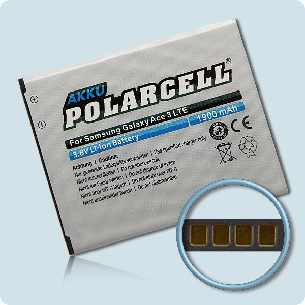 PolarCell® Hochleistungsakku für Samsung Galaxy Ace 3 LTE GT-S7275 mit NFC-Antenne, ersetzt Originalakku EB-B105BE