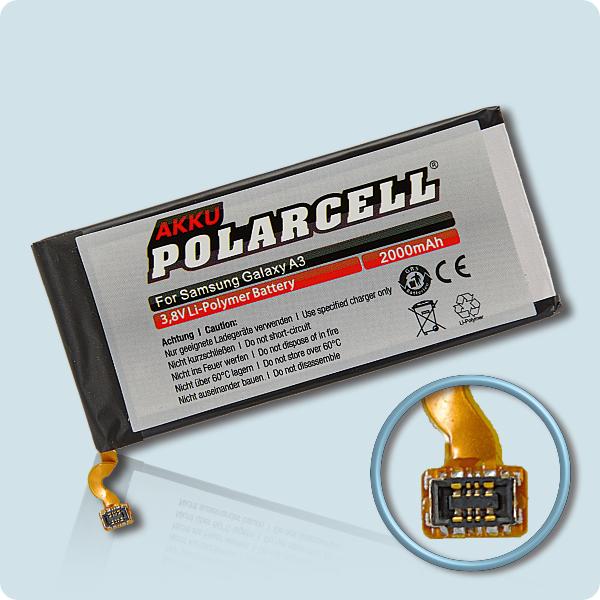 PolarCell® Hochleistungsakku für Samsung Galaxy A3 SM-A300F, ersetzt Originalakku EB-BA300ABE