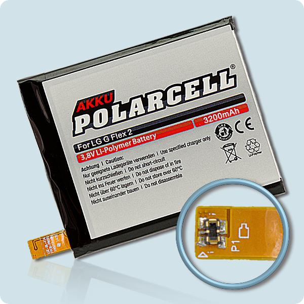 PolarCell® Hochleistungsakku für LG G Flex 2 H955, ersetzt Originalakku BL-T16