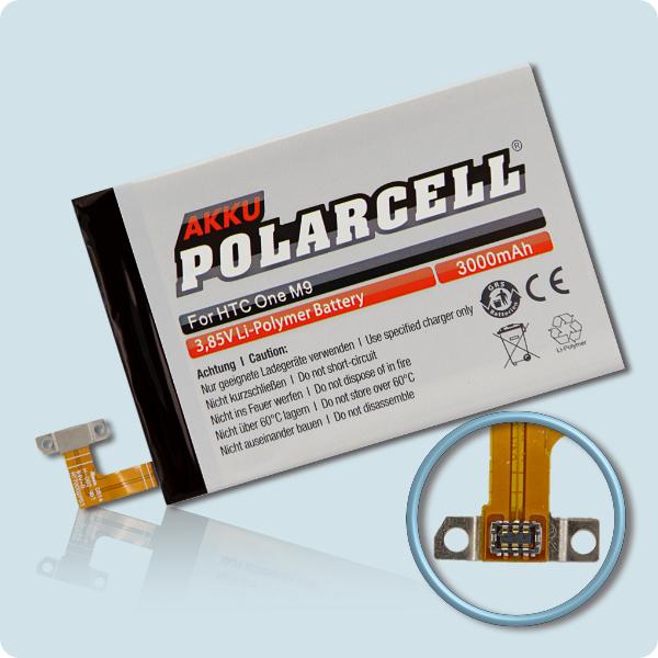 PolarCell® Hochleistungsakku für HTC One M9, ersetzt Originalakku B0PGE100